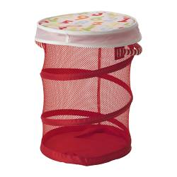 KUSINER mesh basket with lid, red Diameter: 35 cm Height: 49 cm