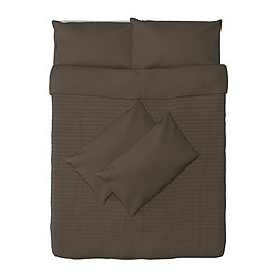 ALVINE STRÅ quilt cover and 4 pillowcases, brown Quilt cover length: 200 cm Quilt cover width: 200 cm Pillowcase length: 50 cm