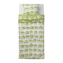 "BARNSLIG ULVEN duvet cover and pillowcase(s), green/white Duvet cover length: 86 "" Duvet cover width: 64 "" Pillowcase length: 20 "" Duvet cover length: 218 cm Duvet cover width: 162 cm Pillowcase length: 51 cm"