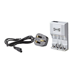 LADDA battery charger and 6 batteries