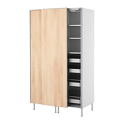 FAKTUM high cabinet with sliding doors, Nexus birch veneer Width: 120 cm Depth: 60 cm Height: 211 cm