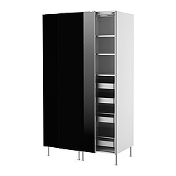 FAKTUM high cabinet with sliding doors, Abstrakt black Width: 120 cm Depth: 60 cm Height: 211 cm