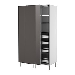 FAKTUM high cabinet with sliding doors, Abstrakt grey Width: 120 cm Depth: 60 cm Height: 211 cm