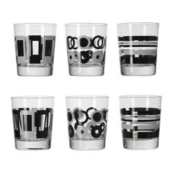 GODIS MIX glass, white, patterned black Height: 10 cm Volume: 20 cl Package quantity: 6 pack