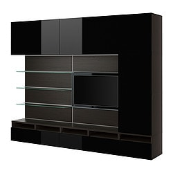 BESTÅ/FRAMSTÅ TV/storage combination, high-gloss black, black-brown Width: 300 cm Depth: 40 cm Height: 230 cm