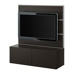 BESTÅ/FRAMSTÅ TV/storage combination, black-brown Width: 120 cm Depth: 40 cm Height: 134 cm