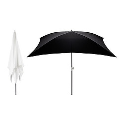 FLISÖ parasol, assorted colours Length: 180 cm Width: 180 cm Pole diameter: 32 mm
