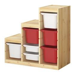 TROFAST storage combination with boxes, white, pine red