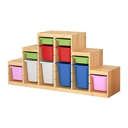 TROFAST storage combination with boxes, multicolour, pine Width: 186 cm Depth: 44 cm Height: 91 cm
