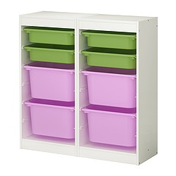 TROFAST storage combination, multicolour, white Length: 92 cm Depth: 30 cm Height: 94 cm