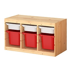 TROFAST storage combination with boxes, multicolour, pine Width: 94 cm Depth: 44 cm Height: 52 cm