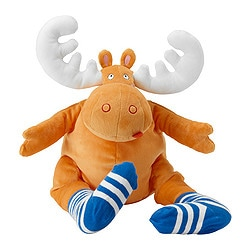 BARNSLIG ÄLG soft toy, orange Length: 50 cm