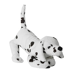 GOSIG VOVVEN soft toy, dog, white/black Length: 37 cm