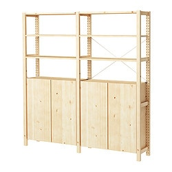 "IVAR 2 section shelving unit w/cabinet, pine Width: 68 1/2 "" Depth: 11 3/4 "" Height: 70 1/2 "" Width: 174 cm Depth: 30 cm Height: 179 cm"