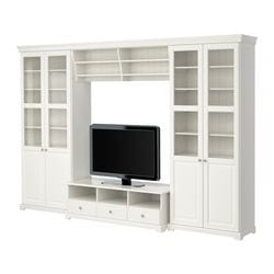 LIATORP TV storage combination, white Width: 337 cm Min. depth: 34 cm Max. depth: 49 cm