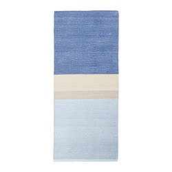 "RENATE rug, low pile, blue Length: 5 ' 11 "" Width: 2 ' 7 "" Surface density: 5 oz/sq ft Length: 180 cm Width: 80 cm Surface density: 1400 g/m²"