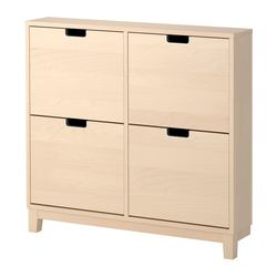 STÄLL shoe cabinet with 4 compartments, birch Width: 96 cm Depth: 17 cm Height: 90 cm