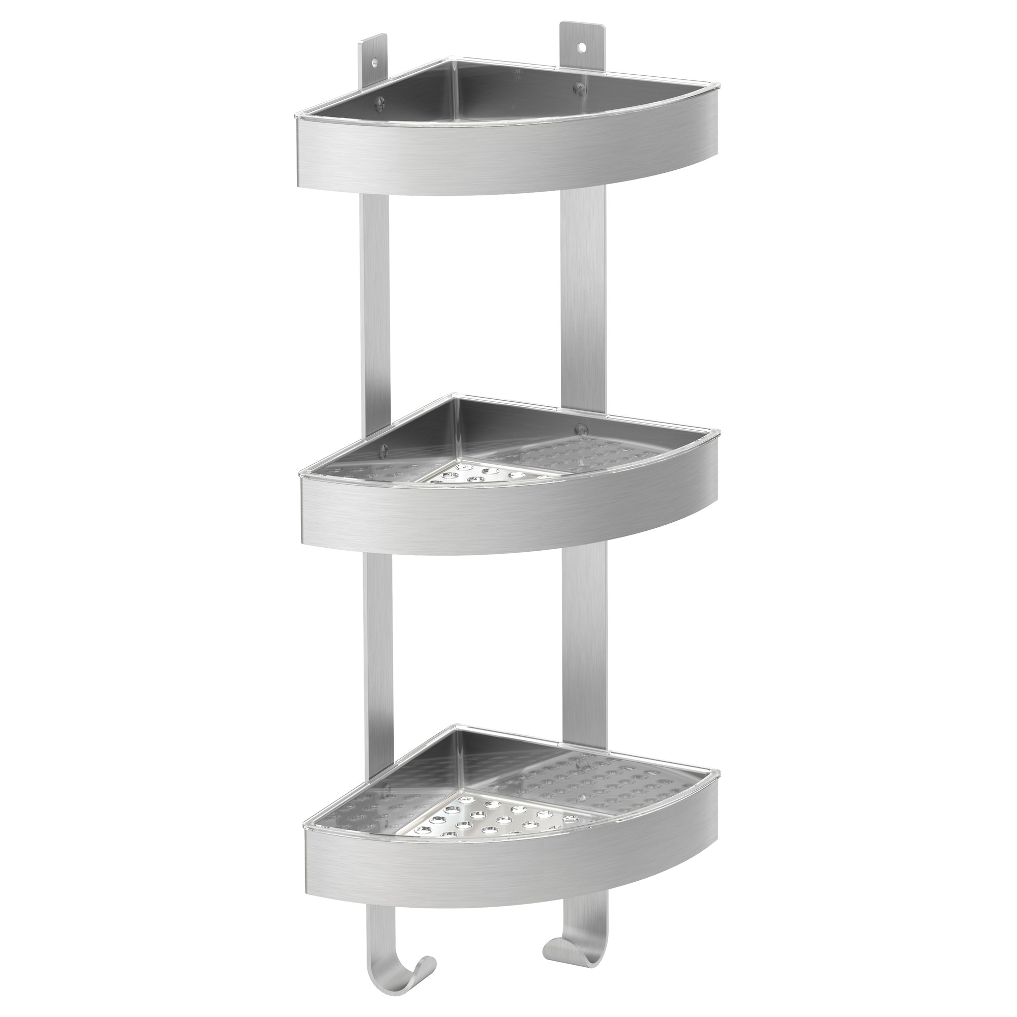 Bathroom wall shelf - Grundtal Corner Wall Shelf Unit Stainless Steel Width 10 Depth 7