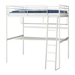 TROMSÖ loft bed frame with desk top, white Length: 198 cm Distance from floor to bed base: 164 cm Width: 141 cm