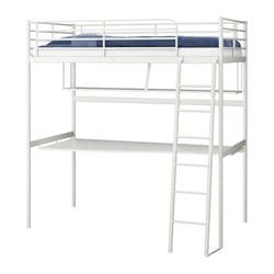 "TROMSÖ loft bed frame with desk top, white Length: 77 1/2 "" Distance from floor to bed base: 64 5/8 "" Width: 40 1/2 "" Length: 197 cm Distance from floor to bed base: 164 cm Width: 103 cm"