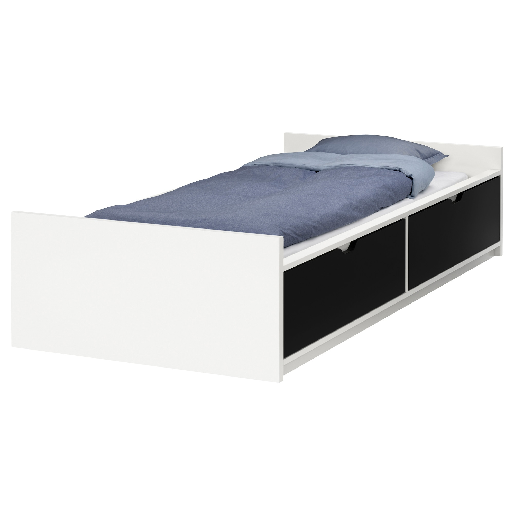 flaxa bed frame wstorageslatted bedbase white length 77 12
