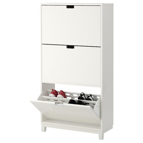 Meuble Chaussure Blanc Laque Ikea.Armoire A Chaussures 3 Casiers Stall Blanc