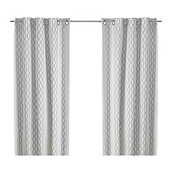 HENNY RAND curtains, 1 pair, grey, white/brown Length: 300 cm Width: 145 cm Weight: 2.90 kg