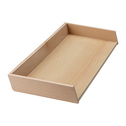 RATIONELL cutlery tray add-on unit, beech Width: 20.0 cm Depth: 50.1 cm Height: 5.0 cm