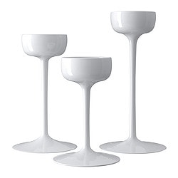 BLOMSTER candle holder, set of 3, white