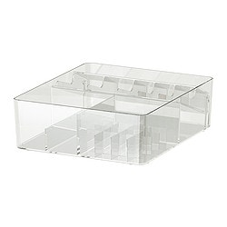 GODMORGON box with compartments, transparent Length: 32 cm Width: 28 cm Height: 10 cm