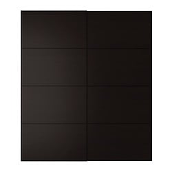 "PAX MALM pair of sliding doors, black-brown Width: 59 "" Height: 92 7/8 "" Thickness: 7/8 "" Width: 150.0 cm Height: 236.0 cm Thickness: 2.3 cm"