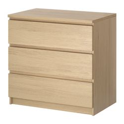 MALM chest of 3 drawers, white stained oak veneer