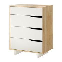 MANDAL chest of 4 drawers, white, birch Width: 79 cm Depth: 48 cm Height: 103 cm