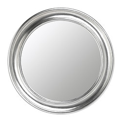 SONGE mirror, silver-colour Diameter: 72 cm