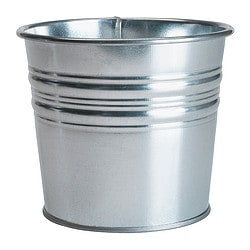 "SOCKER plant pot, galvanized Outside diameter: 4 ¾ "" Max. diameter inner pot: 4 ¼ "" Height: 4 "" Outside diameter: 12 cm Max. diameter inner pot: 10.5 cm Height: 10 cm"