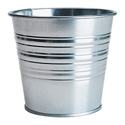 "SOCKER plant pot, galvanized Outside diameter: 5 ½ "" Max. diameter inner pot: 4 ¾ "" Height: 4 ¾ "" Outside diameter: 14 cm Max. diameter inner pot: 12 cm Height: 12 cm"