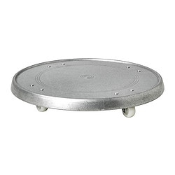 SOCKER plant mover, in/outdoor galvanised, galvanised Diameter: 31 cm Height: 4 cm Max. load: 35 kg