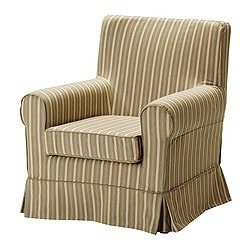 EKTORP JENNYLUND armchair cover, stripe, Linghem light brown