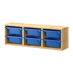TROFAST wall storage, bright blue, pine Length: 93 cm Depth: 21 cm Height: 30 cm