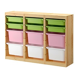 TROFAST storage combination with boxes, multicolor, pine