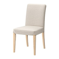 "HENRIKSDAL chair, Linneryd natural, birch Tested for: 243 lb Width: 21 1/4 "" Depth: 22 7/8 "" Tested for: 110 kg Width: 54 cm Depth: 58 cm"