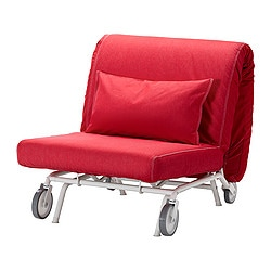 IKEA PS MURBO chair-bed, Vansta red Width: 88 cm Depth: 110 cm Height: 88 cm