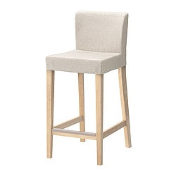 HENRIKSDAL bar stool with backrest, Linneryd natural, birch Width: 40 cm Depth: 51 cm Height: 91 cm