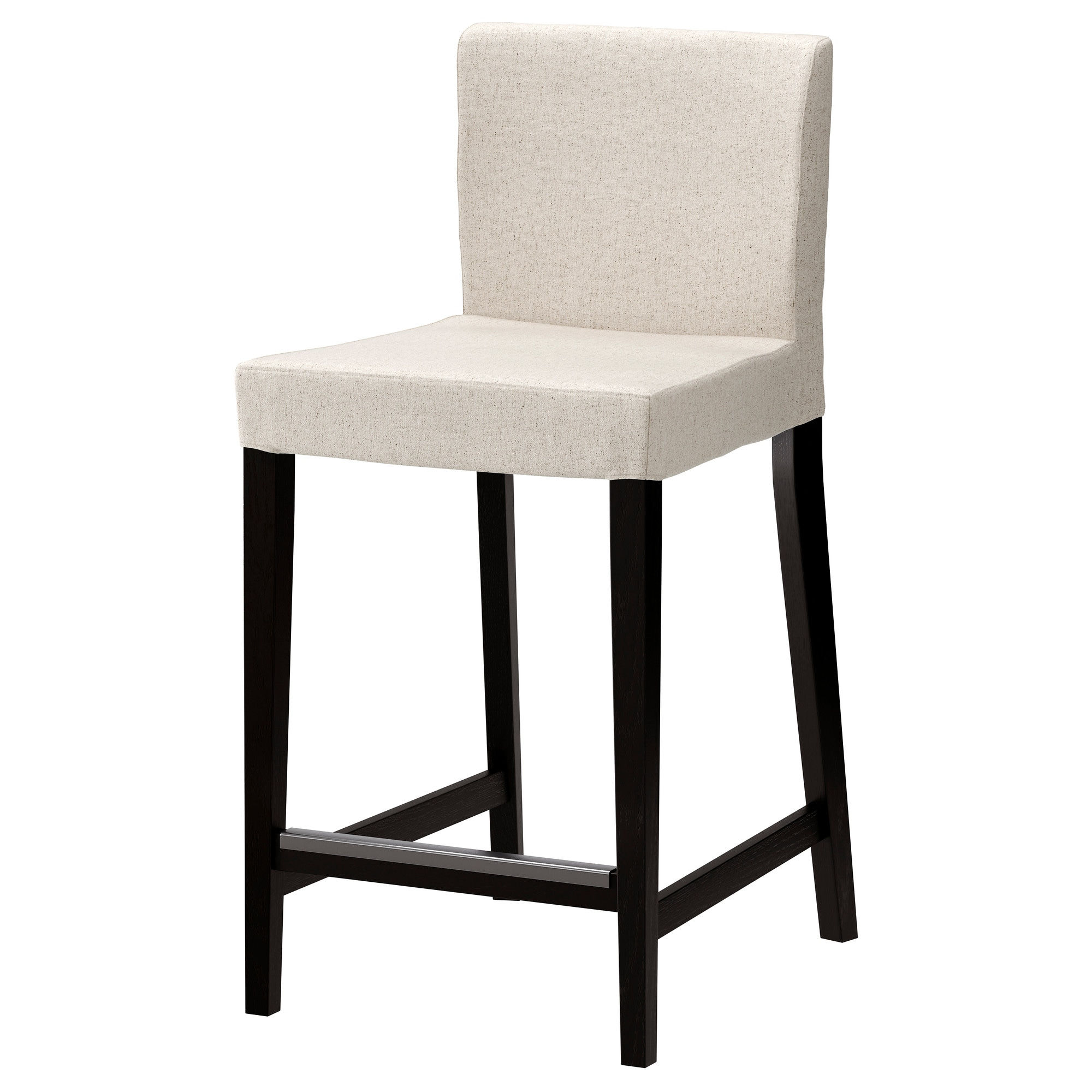 HENRIKSDAL Bar Stool With Backrest, Brown Black, Linneryd Natural Tested  For: 220