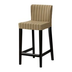 HENRIKSDAL bar stool with backrest, Linghem light brown, brown-black Width: 40 cm Depth: 51 cm Height: 91 cm