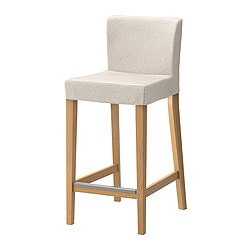 HENRIKSDAL bar stool with backrest, Linneryd natural, oak Tested for: 110 kg Width: 40 cm Depth: 51 cm