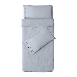 NYPONROS quilt cover and 2 pillowcases, white/blue Quilt cover length: 200 cm Quilt cover width: 150 cm Pillowcase length: 50 cm