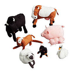 LANDET 8-piece assorted animal set