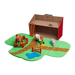 LANDET farmhouse with animals,13 piece set