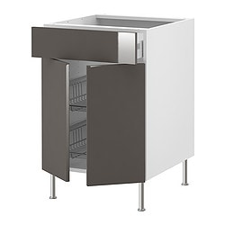 "AKURUM base cb w wire basket/drawer/2 door, Abstrakt gray, birch Width: 23 7/8 "" Depth: 24 3/4 "" Height: 30 3/8 "" Width: 60.8 cm Depth: 62.8 cm Height: 77.1 cm"